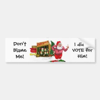 Santa w Elves para el alquiler el chiste político Etiqueta De Parachoque