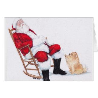 Santa Wake Up Dog Art Greeting Card