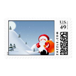 Santa Walking in the Snow Postage Stamp