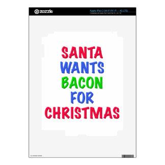 Santa wants bacon for Christmas Skin For iPad 3