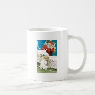 Santa watching girl praying coffee mug