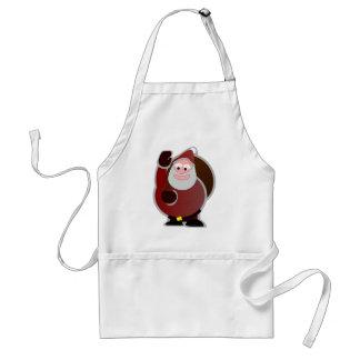 Santa Waving and Holding His Toy Bag Aprons