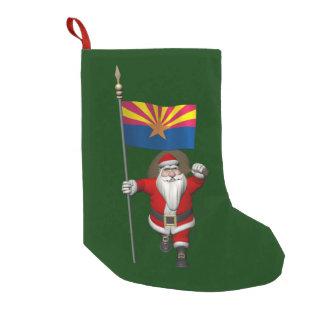 Santa Waving Flag Of Arizona Small Christmas Stocking