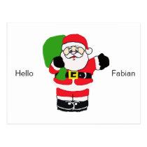 Santa Waving with Greeting and Name Postcard