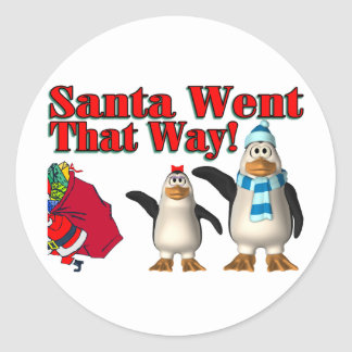 Santa Went That Way Christmas Penguins Classic Round Sticker