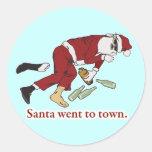 santa_went_to_town pegatina redonda