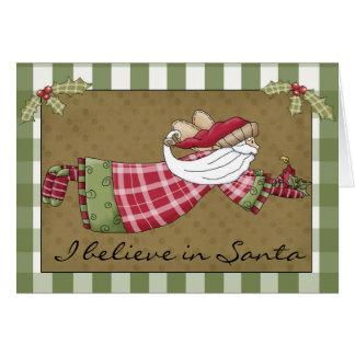 Santa Whimsical Country Christmas Card