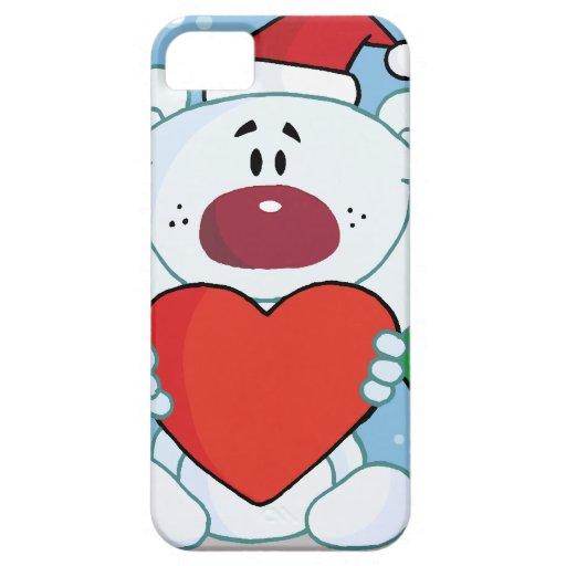 Santa White Bear with Heart iPhone 5 Case