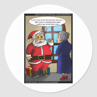 Santa & Wiki Leaks Funny Gifts Tees & Cards Classic Round Sticker