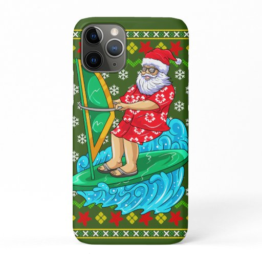 Santa Wind Surf Mele Kalikimaka iPhone 11 Pro Case