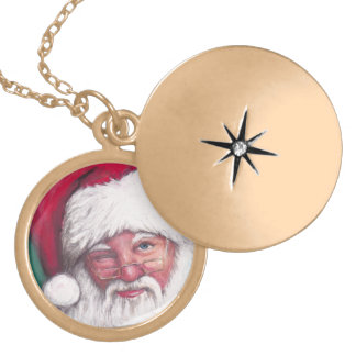 Santa Wink Art Necklace