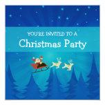 """Santa Winter Scene Christmas Invite 5.25"""" Square Invitation Card"""