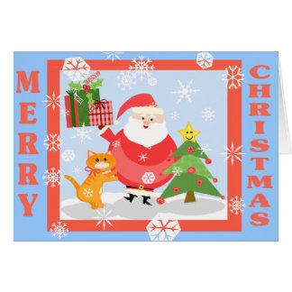 Santa Winter Scene Custom Greeting. Card