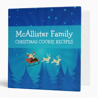 Santa Winter Scene Holiday Recipe Binder 1.5 inch