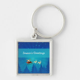 Santa Winter Scene Premium Keychain