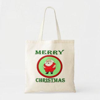 SANTA WISHING MERRY CHRISTMAS CANVAS BAGS
