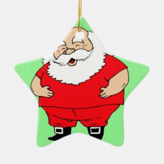 SANTA WISHING MERRY CHRISTMAS Double-Sided STAR CERAMIC CHRISTMAS ORNAMENT