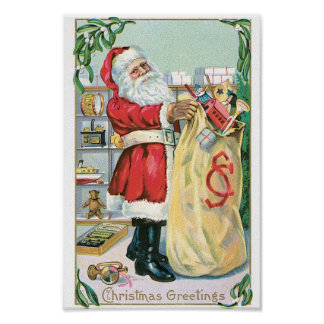 Santa with a big bag of gifts poster