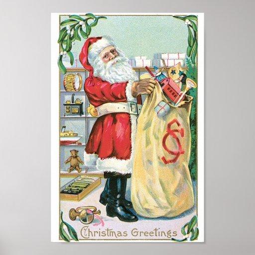 Santa with a big bag of gifts poster
