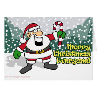 Santa with a Candy Cane Greeting Card