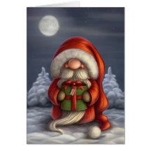 Santa with a gift greeting card