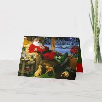 Santa with a golf driver Christmas Card