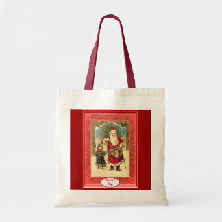 Santa with a little girl canvas bags