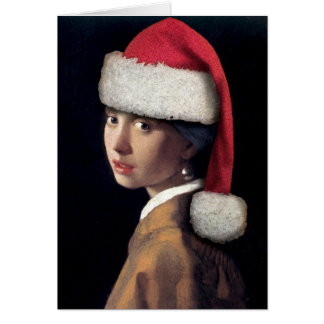 Santa with a Pearl Earring Greeting Card