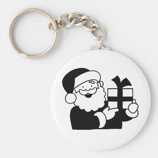 Santa With a Present Keychain