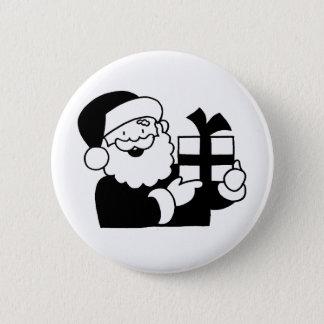 Santa With a Present Pinback Button