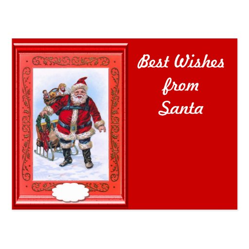 Santa with a sack of gifts postcard