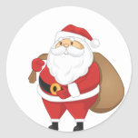 Santa With Bag Of Presents Classic Round Sticker