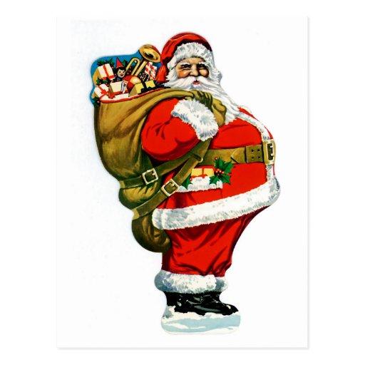 Santa S Bag Of Toys : Santa with bag of toys postcard zazzle