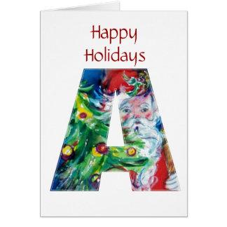SANTA WITH  BALLOONS AND CHRISTMAS TREE A MONOGRAM CARD