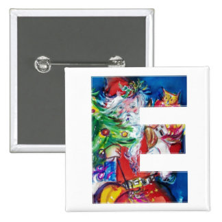 SANTA WITH  BALLOONS AND CHRISTMAS TREE E MONOGRAM 2 INCH SQUARE BUTTON