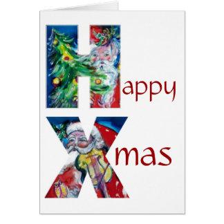 SANTA WITH  BALLOONS AND CHRISTMAS TREE MONOGRAM CARD