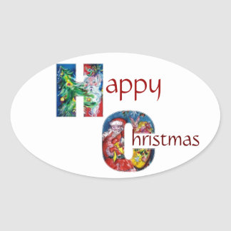 SANTA WITH  BALLOONS AND CHRISTMAS TREE MONOGRAM OVAL STICKER