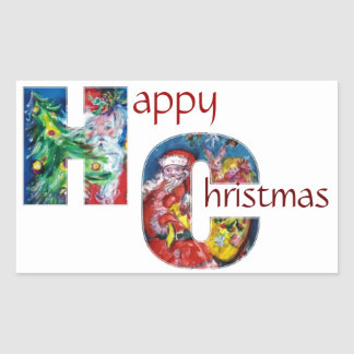 SANTA WITH  BALLOONS AND CHRISTMAS TREE MONOGRAM RECTANGULAR STICKERS
