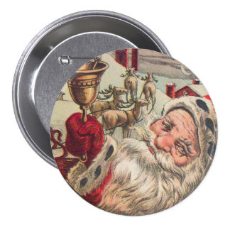 Santa with Bell and Holly Pinback Buttons