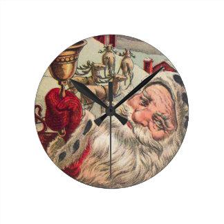 Santa with Bell and Holly Round Wallclocks