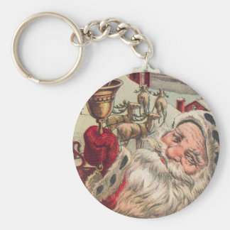 Santa with Bell and Holly Keychain
