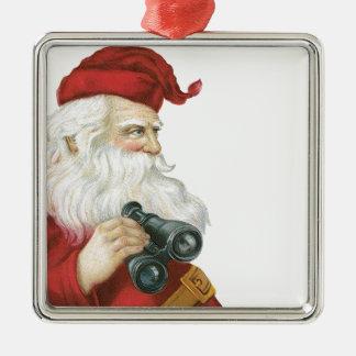 Santa with binoculars metal ornament