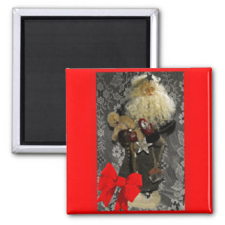 Santa with Border and Bow Magnet