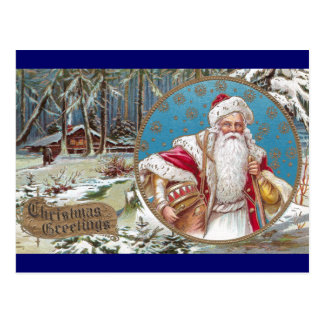 Santa with Cabin in the Woods Postcard