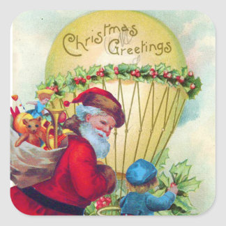 SANTA WITH CHILD ,CHRISTMAS BALLOON,HOLLYBERRIES SQUARE STICKER