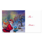 SANTA WITH CHILD IN THE WINTER SNOW BUSINESS CARD TEMPLATES
