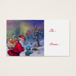 SANTA WITH CHILD IN THE WINTER SNOW BUSINESS CARD