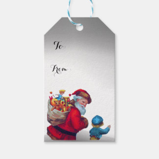 SANTA WITH CHILD IN THE WINTER SNOW GIFT TAGS