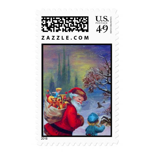 SANTA WITH CHILD IN THE WINTER SNOW POSTAGE STAMP