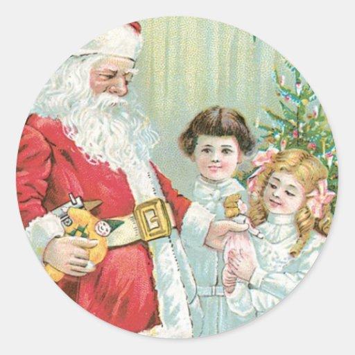Santa With Children Classic Round Sticker